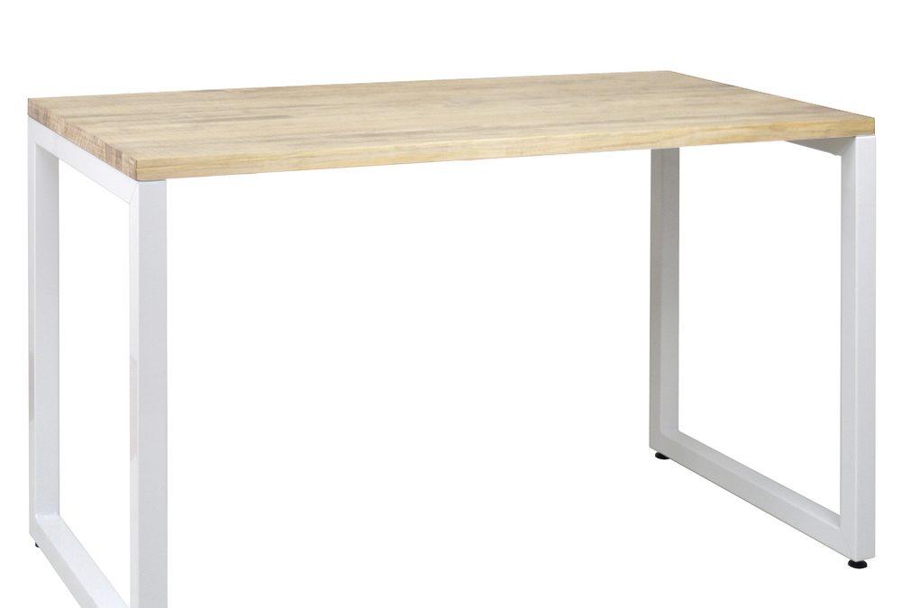 Mesa de Oficina 120x60x75cm Blanco acabado natural estilo industrial
